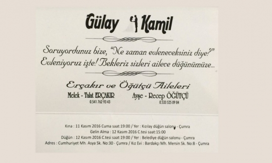 kamil öğütçü ile gülay erçakır evleniyor...<br><span class='mansetaltyazi'>recep öğütçü nün oğlu kamil öğütçü evleniyor.</span>